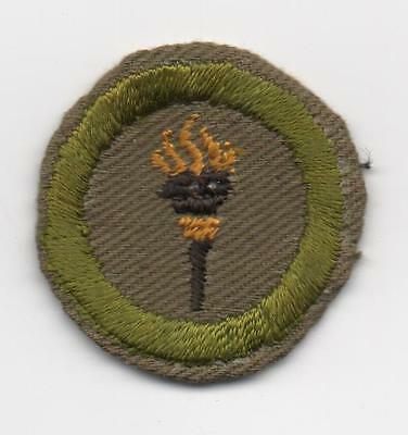 Public Health Merit Badge, Type C Tan Narrow Crimped (1938-46), Used