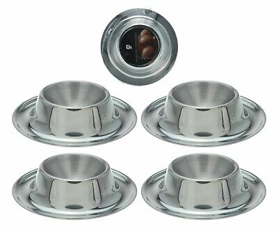 Egg Cup 4 Piece Silver Stainless Steel Soft Boiled Circular Serving Stand Holder