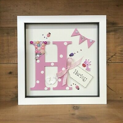 Personalised Box Frame Initial Letter Christening/Boy/Girl/ New Baby Gift Pink