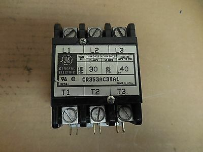 GE GENERAL ELECTRIC CONTACTOR CR353AC3BA1 30A A AMP 600Vac 120V COIL 3 POLE