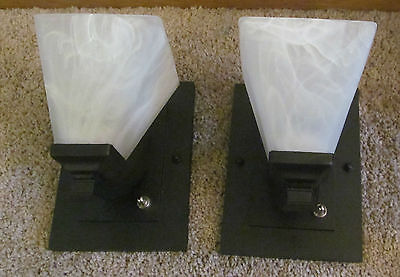 Pair of RV 12 Volt Impressive Black Wall Sconce Light Lamp Alabaster Glass Shade