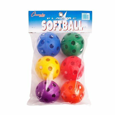 Champion Sports Plastic Softball Baseball Balls For Batting Practice Set Of 6