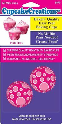 Cupcake Creations Mini Baking Cups Pink Dots 60 Pack No Muffin Pan Needed 8870
