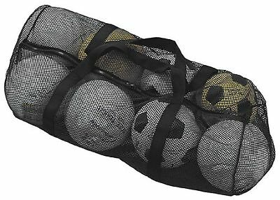 Champion Sports Mesh Duffle Bag Soccer Basketball Football Shoulder Straps Black