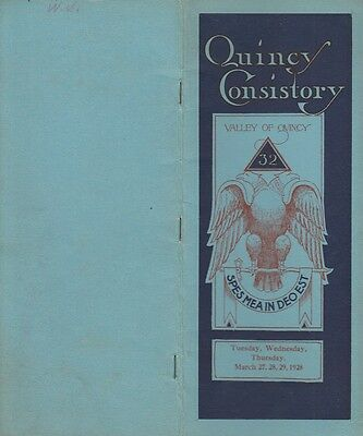 Quincy IL Consistory Spring Reunion Ancient Accepted Scottish Rite 1928 Masonic
