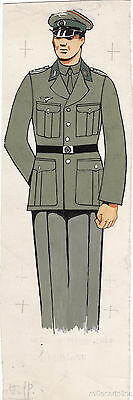 * WWII ORIGINAL MILITARY SKETCH - Army Uniforms - German Soldier, NCO Artillery