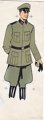 * WWII ORIGINAL MILITARY SKETCH - Army Uniforms - German Soldier, SS