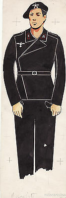 * WWII ORIGINAL MILITARY SKETCH - Army Uniforms - German Soldier, Tanker
