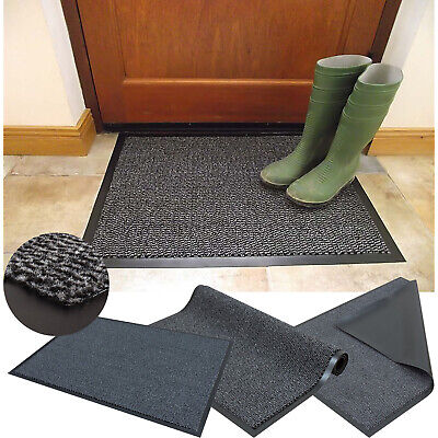 Grey Heavy Duty Barrier Dirt Mat Non Slip Rubber Back Hall Rugs Machine Washable