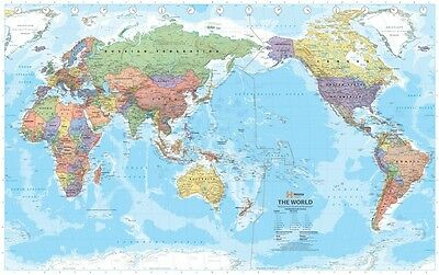 WORLD MEGA MAP (LAMINATED) POSTER (146x232cm) PACIFIC CENTERED POLITICAL NEW
