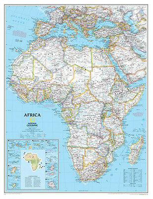 GIANT MAP OF AFRICA (LAMINATED) POSTER (91x117cm) NATIONAL GEOGRAPHIC NEW