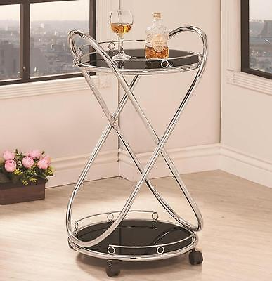 Modern Rolling Serving Cart in Tempered Glass and Chrome by Coaster 910074