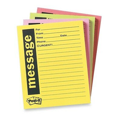 """Post-it Neon Important Message Pad 50 Sheet 4"""" x 5"""" Sheet Assorted 4/Pack"""