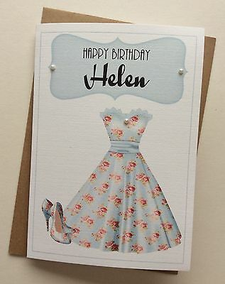 Handmade Personalised Vintage Dress & Shoes Birthday Card: 21st 30th 40th 50th
