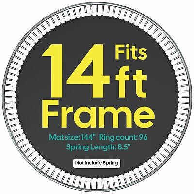 """12.1' Weatherproof Jumping Mat for 14' Trampoline Replacement 96Ring 8.5"""" Spring"""