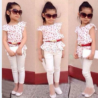 3pcs Toddler Infant Girls Outfits Short Sleeve T-shirt+Pants+Belt Clothes Set