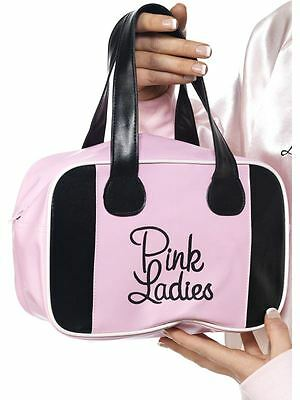 1970's / 1980's GREASE Pink Ladies Bowling Bag - Black & Pink Fancy Dress
