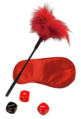 Naughty Night Play Kit | Red Blindfold, Tickler and Dice Game | Sexy Saucy Fun