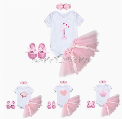4PCS Baby Girls Birthday Party Romper Headband +Tutu Skirt +Shiny Shoes Outfits
