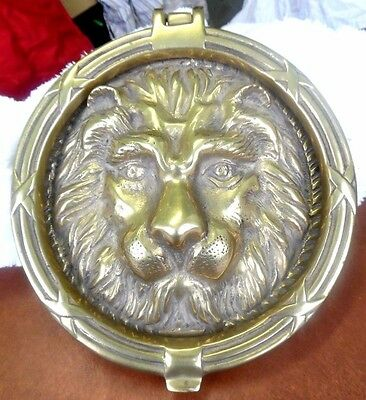 "vintage large brass lion head door knocker 9"" diameter"