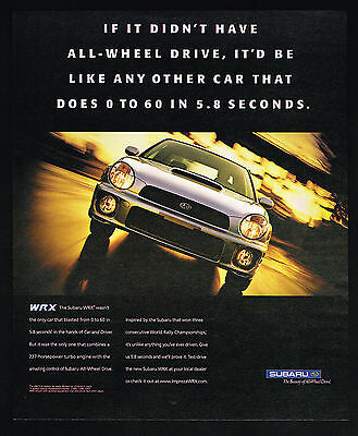 2002 Subaru WRX AWD 0 to 60 In 5.8 Seconds Photo Print Ad