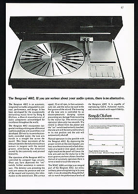 1974 Bang & Olufsen Beogram 4002 Turntable Vintage Photo Print Ad