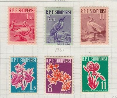 Albania 1961 Bird & Flower Issues Sc #592-7 Mint Lh Cat $31.60
