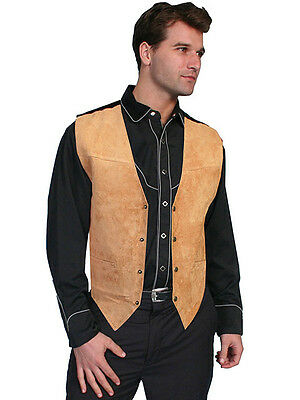 Men's New Western Beautiful Bourbon Brown  Boar Suede Leather Vest Scully