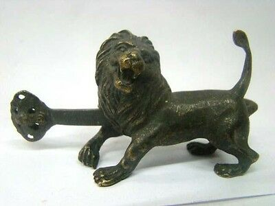 Rare Chinese old style Brass Carved lion lock and key