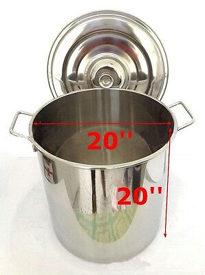 20 inch 304 Stainless Steel Stockpot Cooking Kitchen Tool With Lid