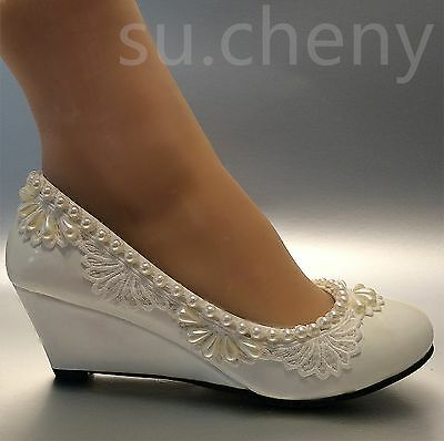 "aa1b24b7c5d0 su.cheny 2"" Wedge lace pearls white light ivory Wedding Bridal shoes size 5"