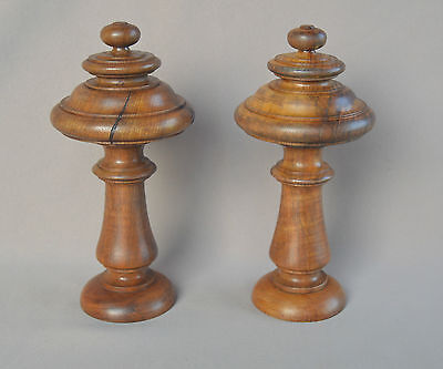 French Antique Architectural Decorative Wood Pair of Curtain Rod Bed Finials