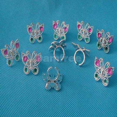 10 Plastic Butterfly Friend Rings for Girls Kids Children Party Favor Gifts
