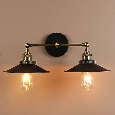 Modern Vintage Industrial Wall Light Metal Wall Lamp Double Arms Rustic Sconce
