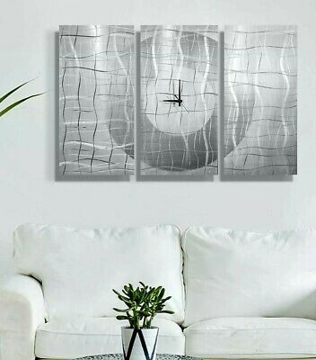 Statements2000 Metal Wall Clock Art Modern White Silver Painting Decor Jon Allen