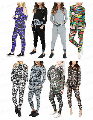 NEW Womens Ladies Camouflage Two Piece Tracksuit Joggers Jumper Lounge Top S-L