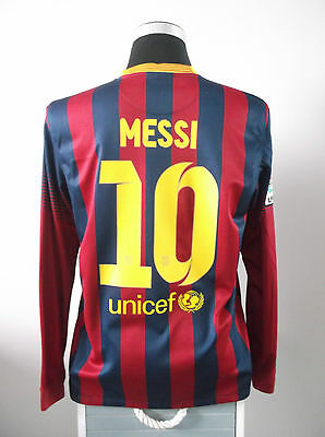 Lionel MESSI #10 Barcelona L/S Home Football Shirt Jersey 2013/14 (L)