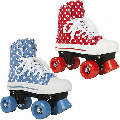 New Rookie Canvas High Stars Girls Kids Adults Quad Wheels Roller Skates Uk Size