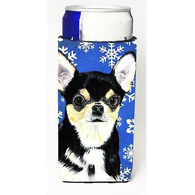 Chihuahua Winter Snowflakes Holiday Michelob Ultra bottle sleeves For Slim Cans