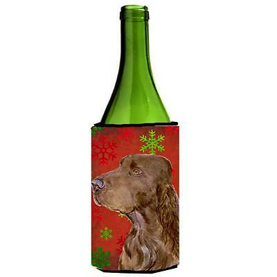 Field Spaniel Red And Green Snowflakes Holiday Christmas Wine bottle sleeve 2...