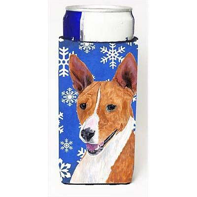 Basenji Winter Snowflakes Holiday Michelob Ultra bottle sleeves For Slim Cans