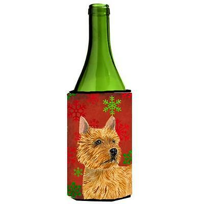 Norwich Terrier Red And Green Snowflakes Holiday Christmas Wine bottle sleeve...