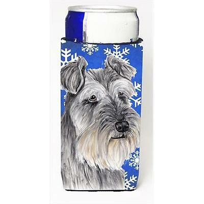 Schnauzer Winter Snowflakes Holiday Michelob Ultra bottle sleeves For Slim Cans