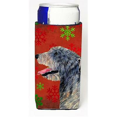 Irish Wolfhound Red And Green Snowflakes Holiday Christmas Michelob Ultra bot...