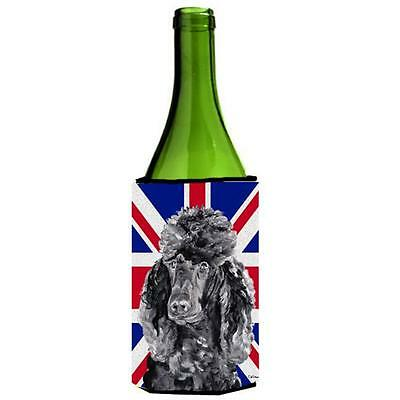 Black Standard Poodle With English Union Jack British Flag Wine bottle sleeve...