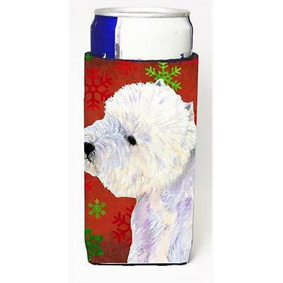 Westie Red And Green Snowflakes Holiday Christmas Michelob Ultra bottle sleev...