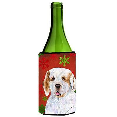 Clumber Spaniel Red And Green Snowflakes Holiday Christmas Wine bottle sleeve...