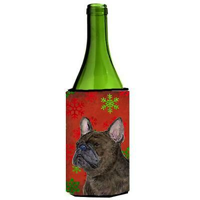 French Bulldog Red And Green Snowflakes Holiday Christmas Wine bottle sleeve ...