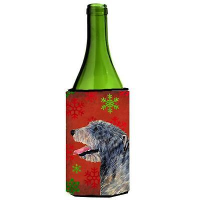 Irish Wolfhound Red And Green Snowflakes Holiday Christmas Wine bottle sleeve...