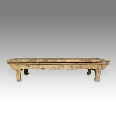 Rare Antique Chinese Qing Gansu Bench Elm Wood Furniture 19Th C.
